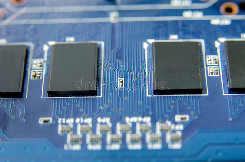 Integrerade blått - strömkrets Dator royaltyfri fotografi