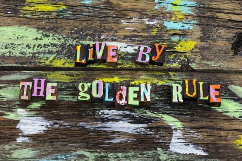 Integridade viva da vida da honestidade da ajuda do amor do respeito da regra de ouro foto de stock royalty free