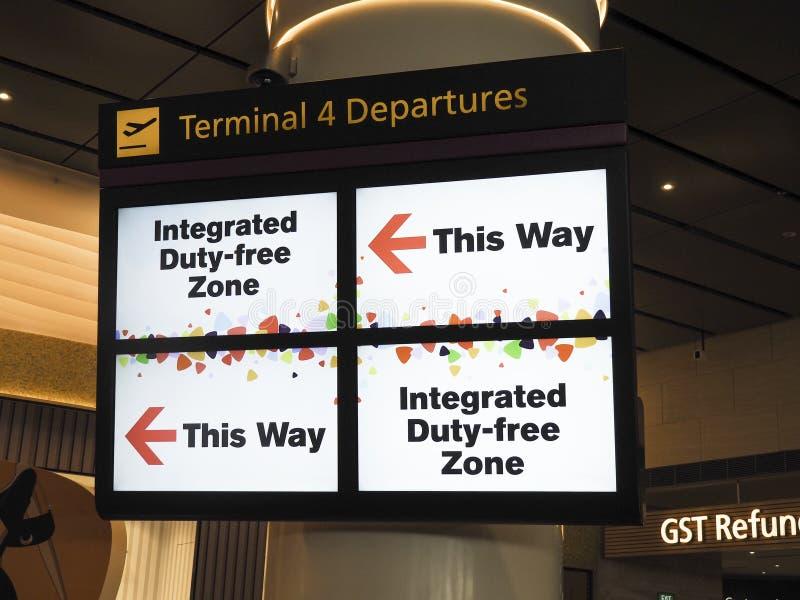 Integrierte zollfreie Zone an Changi-Flughafenabfertigungsgebäude 4 T4, Singapur lizenzfreie stockfotografie