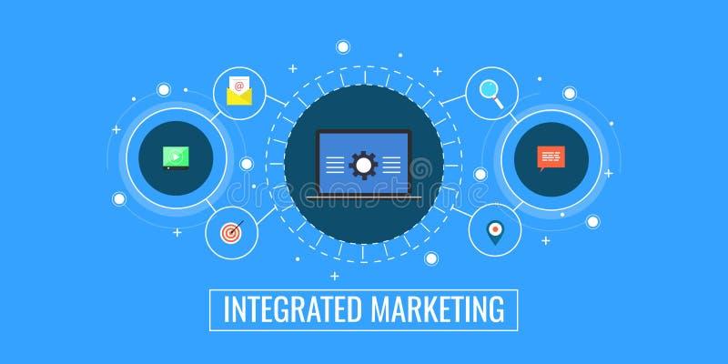 Integriertes Marketing, Geschäftsverbindung, digitale Förderung und Managementkonzept Flache Designmarketing-Vektorfahne lizenzfreie abbildung