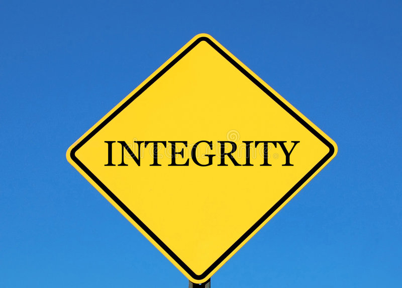 Integrity. Yellow road sign with the word integrity royalty free stock photography