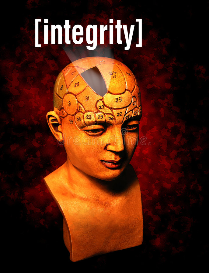 Integrity. A psychology model highlighting the integrity section of the brain royalty free illustration