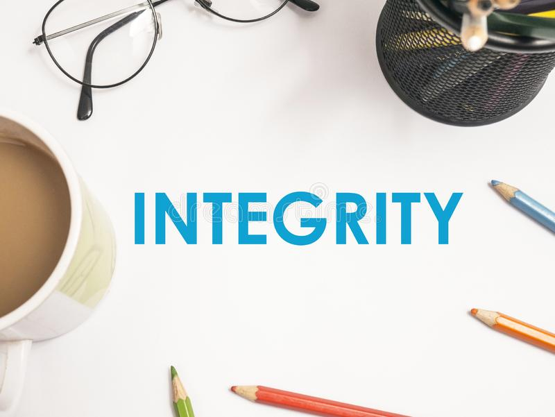 Integrity, Motivational Words Quotes Concept. Integrity, business motivational inspirational quotes, words typography lettering concept text vintage ethics royalty free stock photo