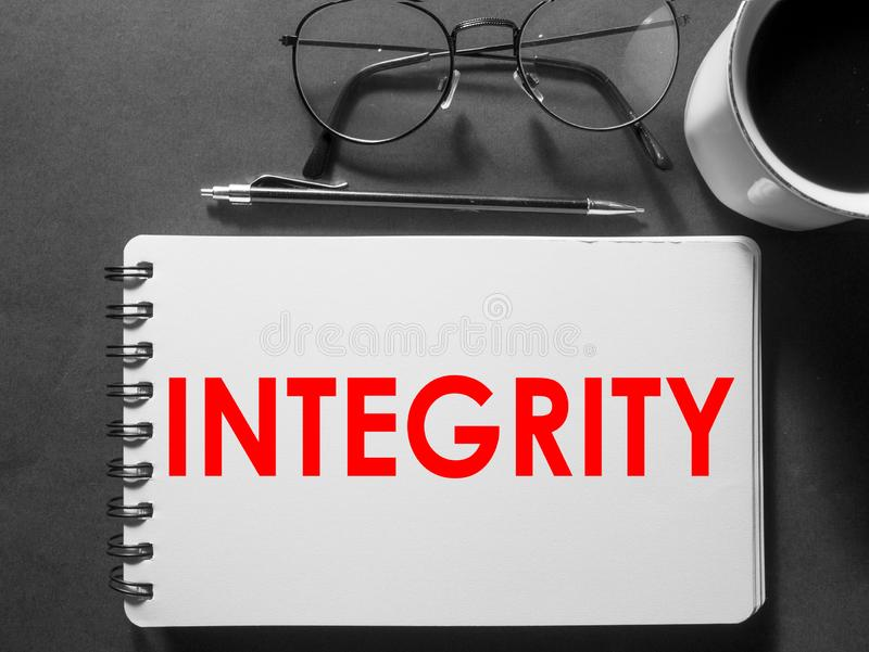 Integrity, Motivational Words Quotes Concept. Integrity, business motivational inspirational quotes, words typography lettering concept text vintage ethics royalty free stock images