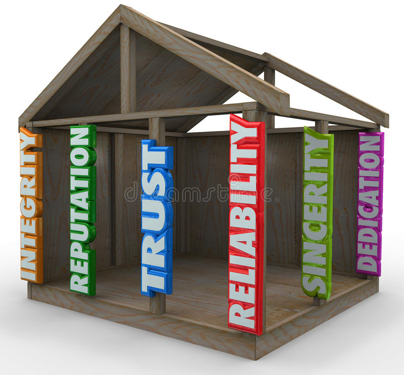 Integrity Reputation Reliability Home Frame Building Blocks Foundation. Strong foundation words supporting the walls and ceiling of a home frame with related stock illustration