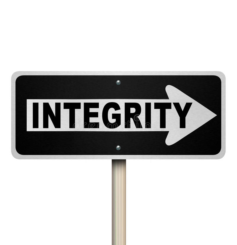 Integrity Word One-Way Street Road Sign. A road or street sign with the word Integrity to illustrate sincereity, believability, reputation, truthfulness, honesty vector illustration