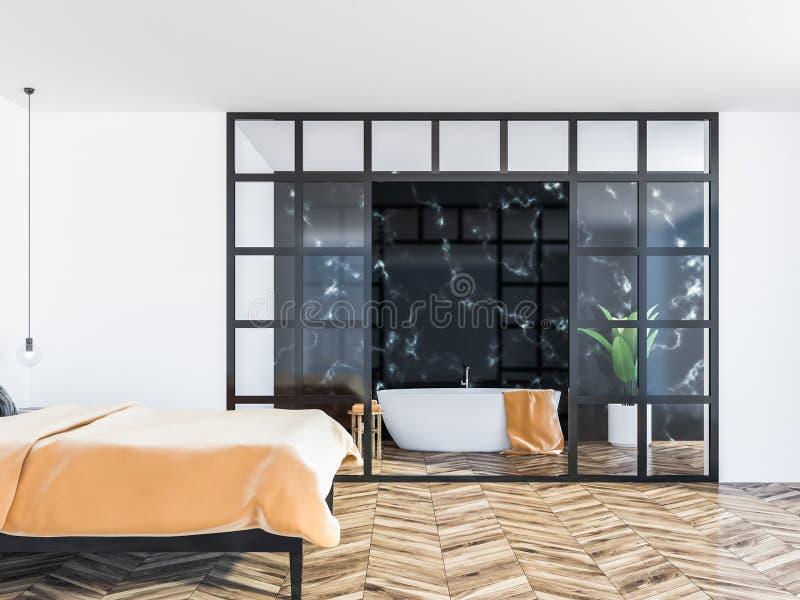 Inteiror blanc de chambre à coucher, double lit orange illustration stock