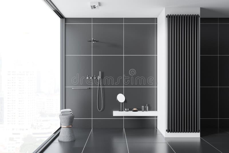 Inteiror nero del bagno delle mattonelle, doccia fotografia stock libera da diritti
