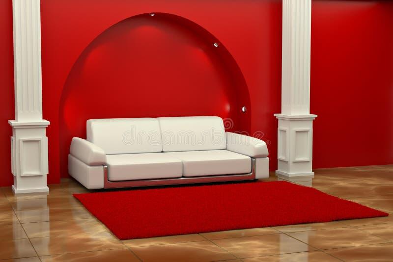 Inteiror. Sofà fra le colonne nella stanza rossa illustrazione vettoriale