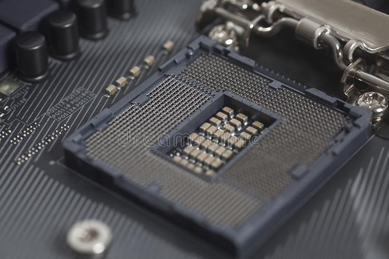 Intel LGA 1151 cpu socket on motherboard Computer PC. Close up stock photo