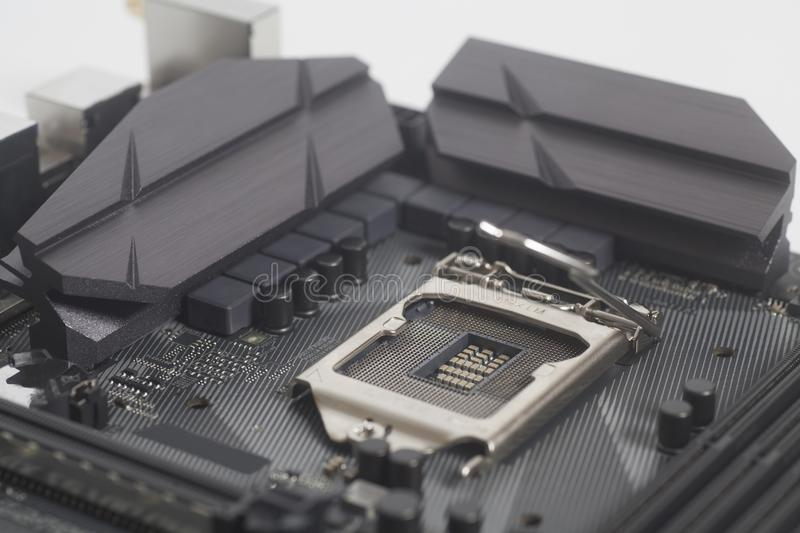 Intel LGA 1151 cpu socket on motherboard Computer PC. Close up stock photography