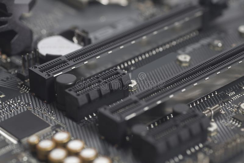 Intel LGA 1151 cpu socket on motherboard Computer PC. Close up stock image