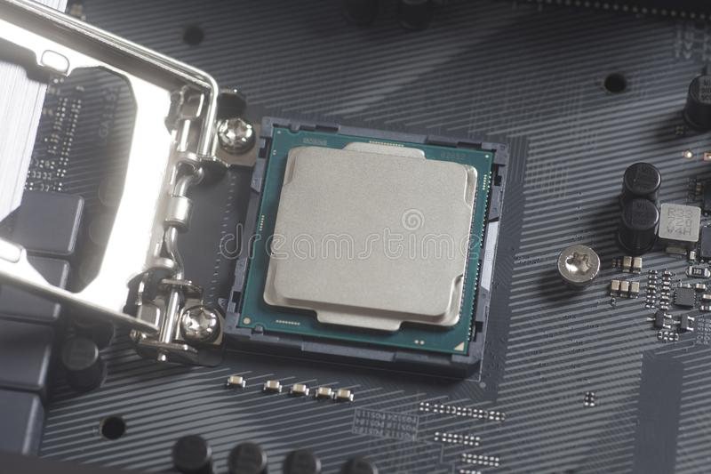Intel LGA 1151 cpu socket on motherboard Computer PC with Processor royalty free stock images