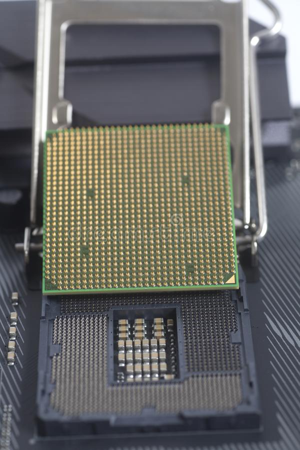 Intel LGA 1151 cpu socket on motherboard Computer PC with Proces. Sor close up stock images