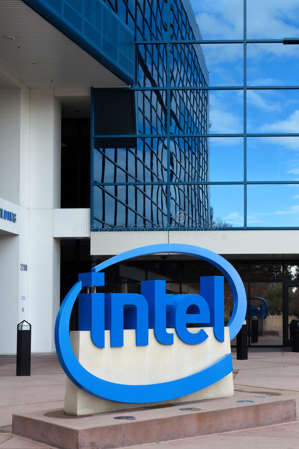 Intel Sign at Corporate Headquarters. stock photography