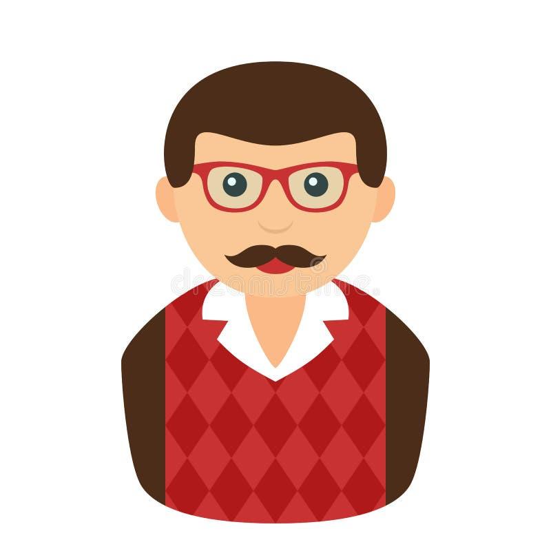 Intelektualny mężczyzna z puloweru Avatar mieszkania ikoną ilustracji