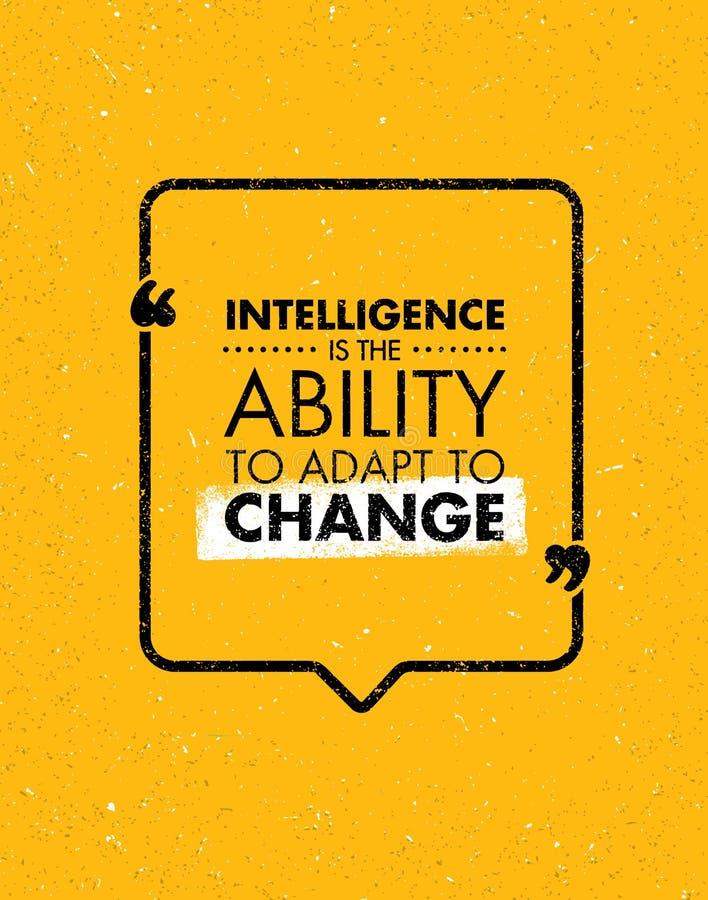 A inteligência é a capacidade para adaptar-se à mudança Citações criativas inspiradores da motivação Projeto da bandeira da tipog ilustração stock