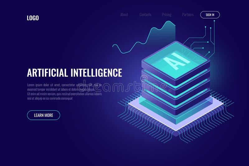Inteligência artificial, ícone isométrico do AI, cérebro do computador, cremalheira da sala do servidor, dados grandes, elemento  ilustração royalty free