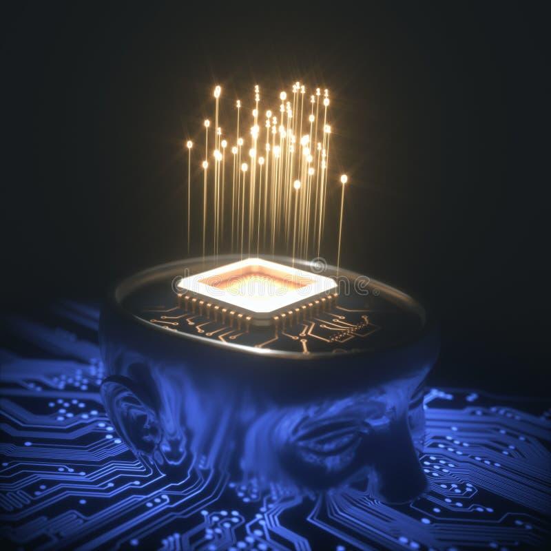 Inteligência artificial Brain Microchip ilustração stock