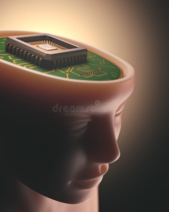 Inteligência artificial Brain Microchip ilustração do vetor