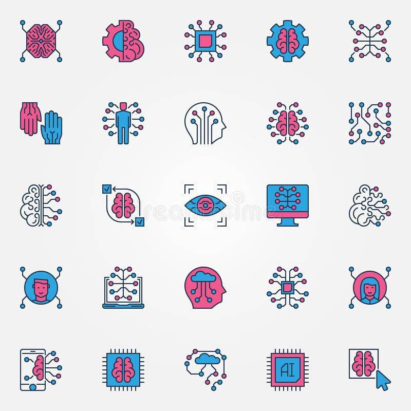 A inteligência artificial coloriu ícones ajustados - sinais da tecnologia do AI ilustração do vetor