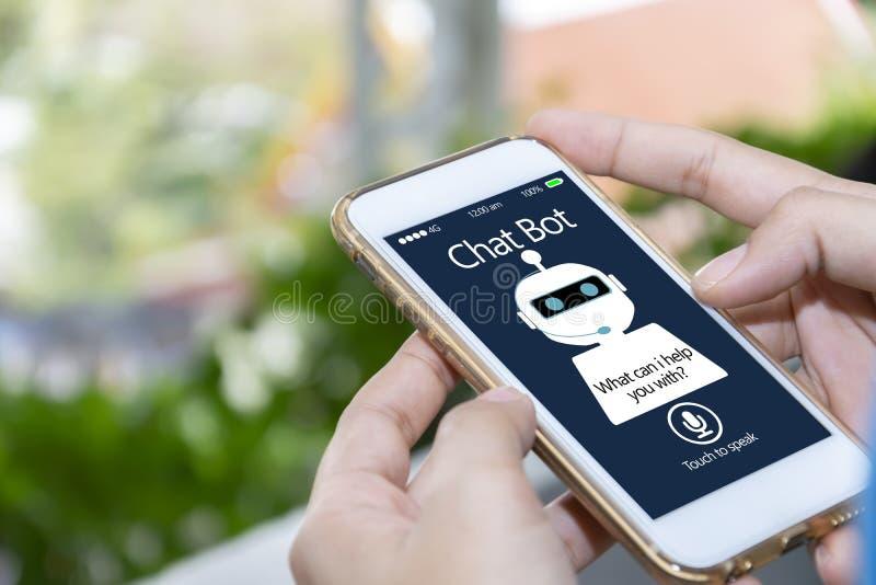 Inteligência artificial, conceito do bot do bate-papo do AI fotos de stock