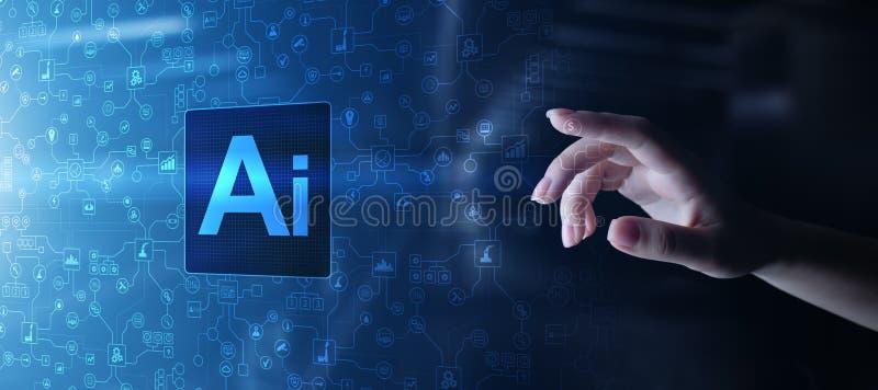 Inteligência artificial do AI, aprendizagem de máquina, análise de dados grande e tecnologia da automatização no negócio imagens de stock royalty free