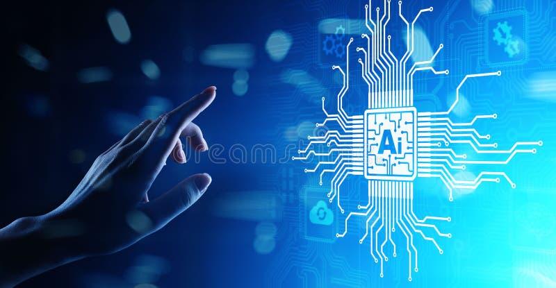 Inteligência artificial do AI, aprendizagem de máquina, análise de dados grande e tecnologia da automatização no negócio na tela  fotos de stock royalty free