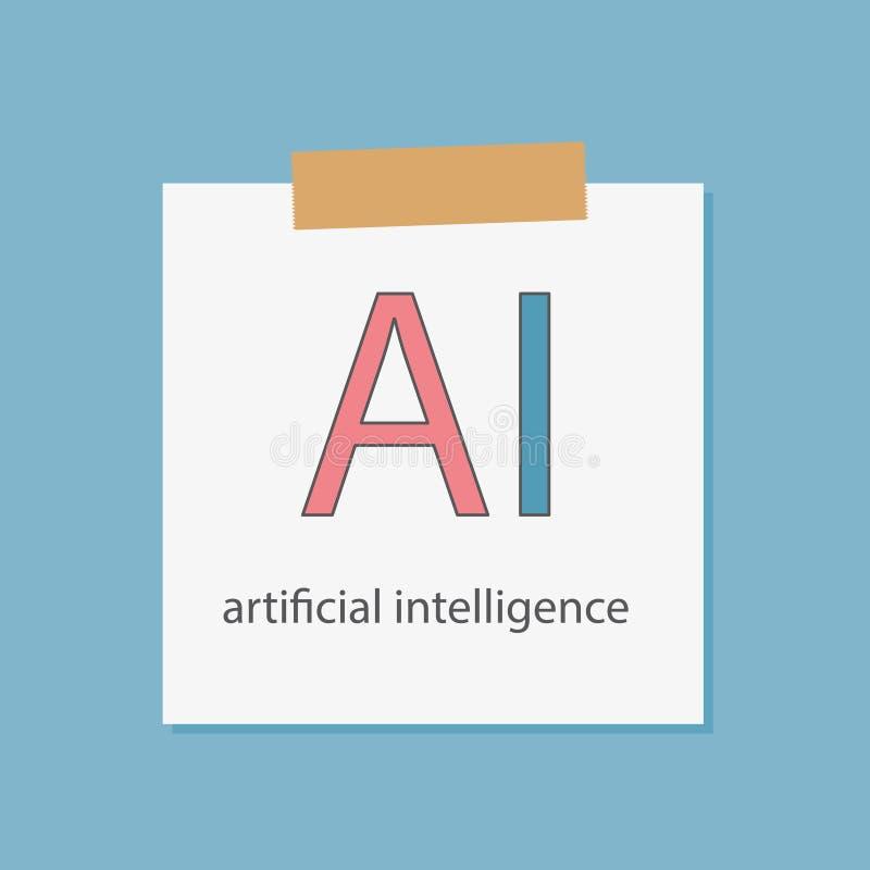 Inteligência artificial do AI escrita em um papel do caderno ilustração stock