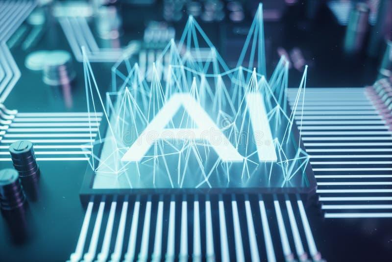 inteligência artificial do sumário da ilustração 3D em uma placa de circuito impresso Conceito da tecnologia e da engenharia Neur ilustração do vetor