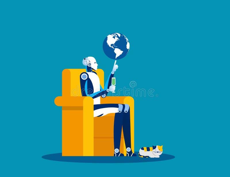 Inteligência artificial e globo na ponta dos dedos Conceito de ilustração de vetor de negócios, Controle, Gerenciamento, Lordship ilustração royalty free