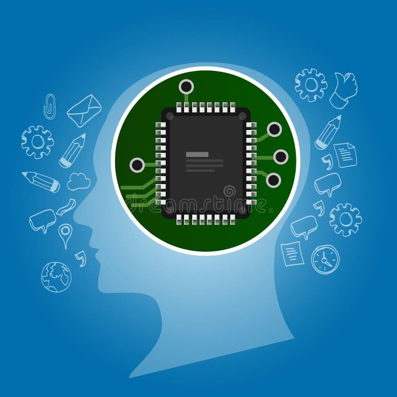 Inteligência artificial Esboço da cabeça humana com o processador da microplaqueta da placa de circuito para dentro tecnologia e  ilustração royalty free