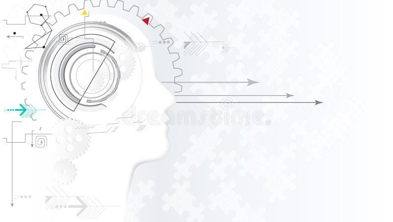 Inteligência artificial Fundo da Web da tecnologia Conceito virtual ilustração royalty free