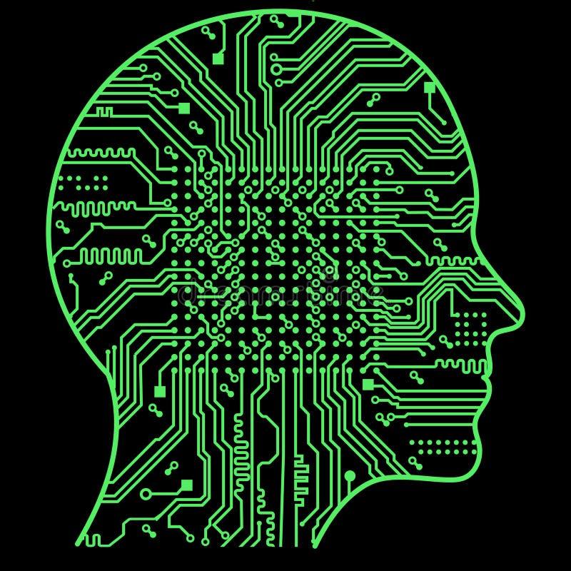Inteligência artificial A imagem de esboços da cabeça humana, dentro de que há uma placa de circuito abstrata ilustração stock