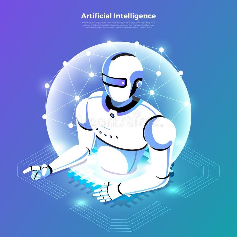 Inteligência artificial isométrica AI ilustração do vetor