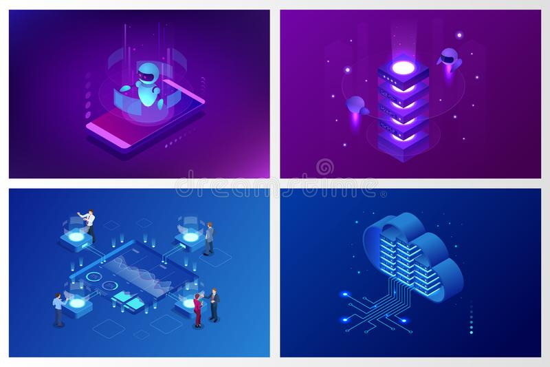 Inteligência artificial isométrica Chatbot e mercado futuro Conceito do AI e do negócio IOT Serviço da ajuda do diálogo ilustração royalty free
