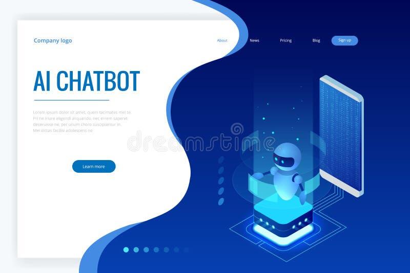 Inteligência artificial isométrica Chatbot e mercado futuro Conceito do AI e do negócio IOT Serviço da ajuda do diálogo ilustração do vetor