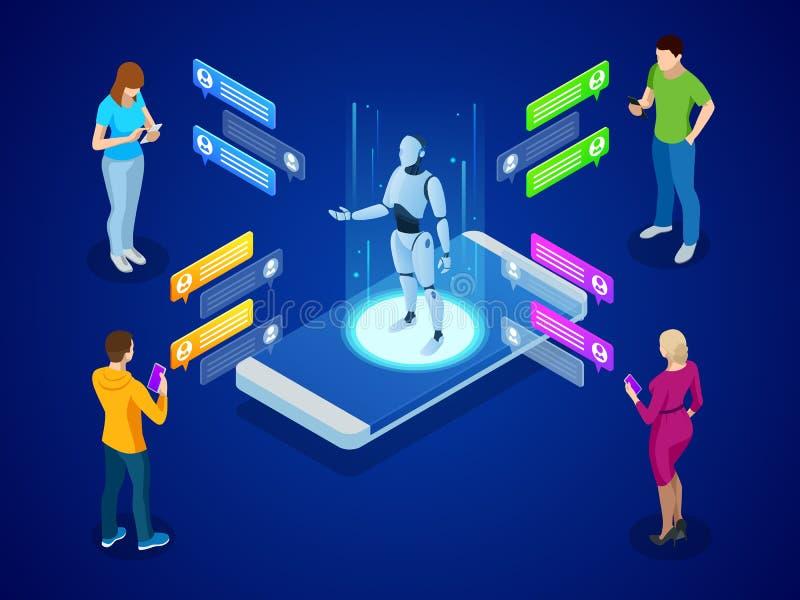 Inteligência artificial isométrica Conceito do AI e do negócio IOT Equipa e as mulheres que conversam com aplicação do chatbot ilustração royalty free