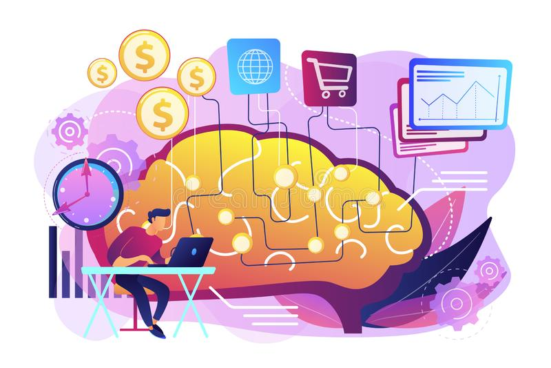 Inteligência artificial na ilustração de financiamento do vetor do conceito ilustração stock