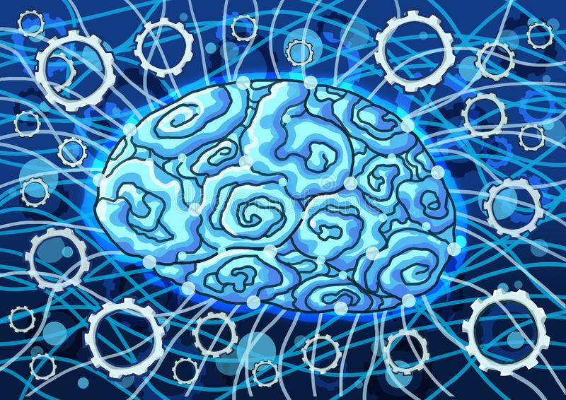 Inteligência artificial na pintura azul do fundo ilustração stock