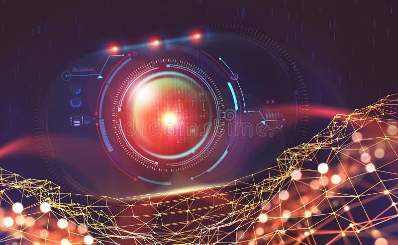 Inteligência artificial na rede global Tecnologias de Digitas do futuro Controlo da mente do computador ilustração royalty free
