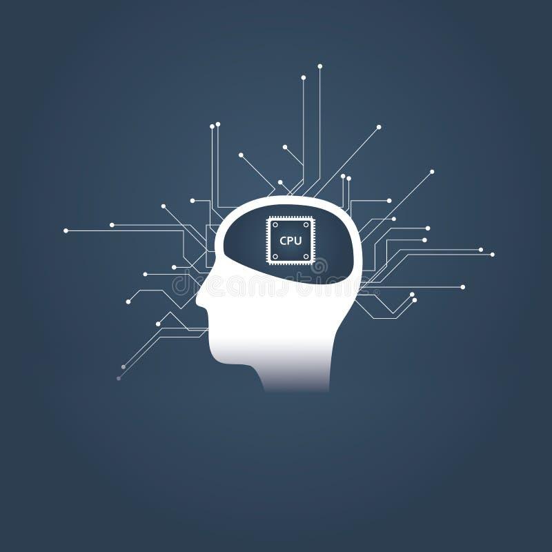 Inteligência artificial ou conceito do ai com cabeça do ser humano ou do androide e processador central em vez do cérebro Símbolo ilustração do vetor