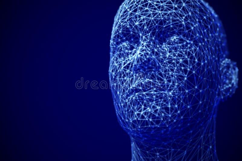 Inteligência artificial ou conceito profundo da aprendizagem de máquina: cara masculina poligonal ilustração royalty free
