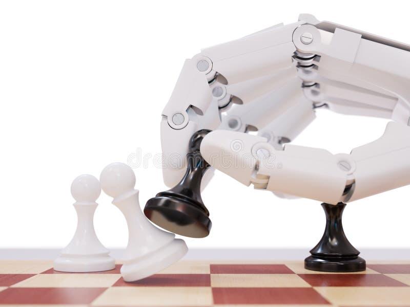 Inteligência artificial que joga o conceito da ilustração da xadrez 3d ilustração royalty free