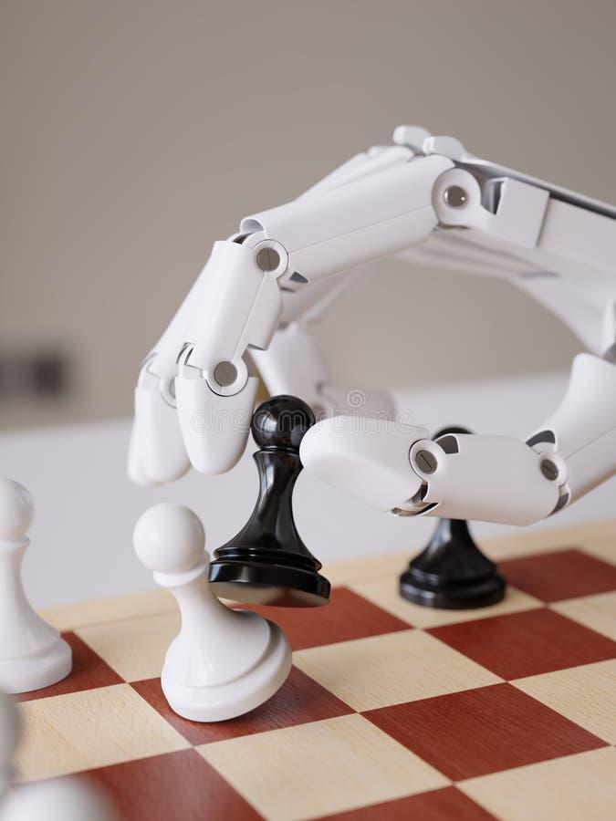 Inteligência artificial que joga o conceito da ilustração da xadrez 3d fotos de stock royalty free