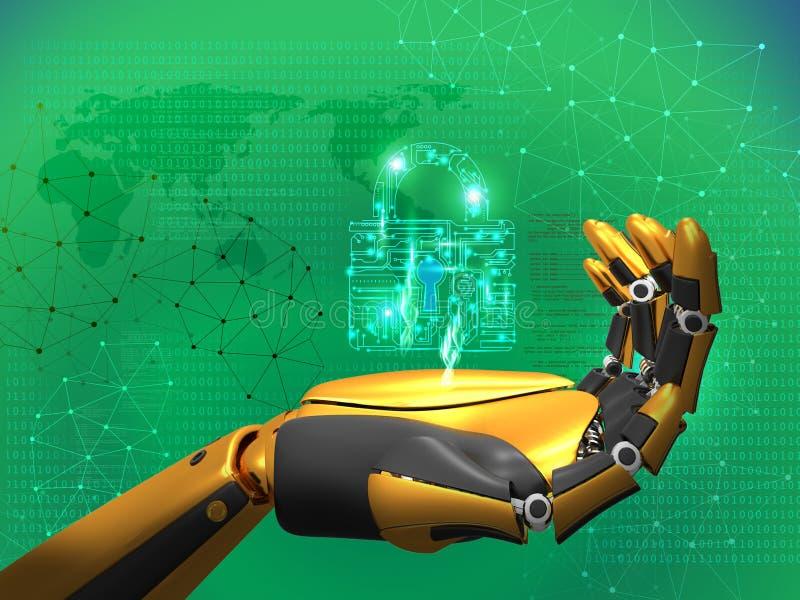 Inteligência artificial, segurança de dados, conceito da privacidade, fechamento da terra arrendada do robô, fundo azul do sumári ilustração royalty free