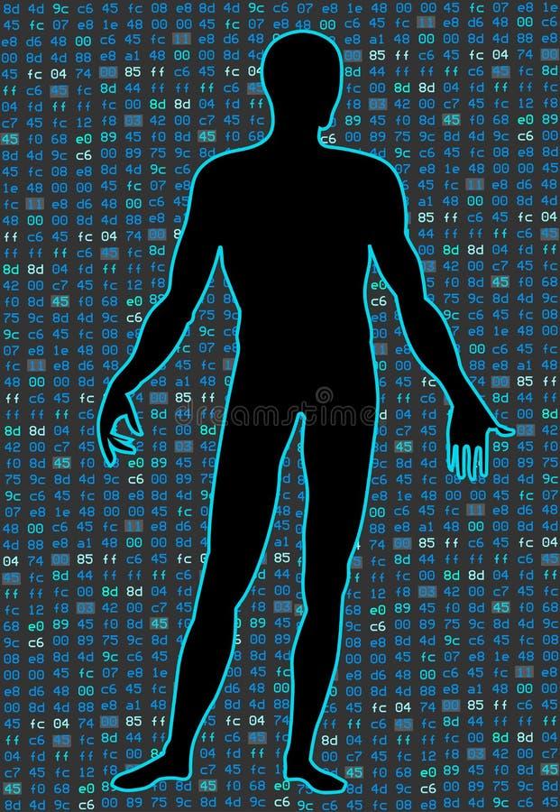 Inteligência artificial Silhueta de um corpo humano em um código binário preto de programa de fundo Pode ilustrar ilustração do vetor