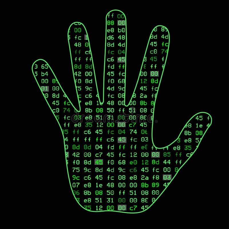 Inteligência artificial Silhueta de uma palma da mão do homem, dentro de que código binário Pode ilustrar ideias científicas ilustração do vetor