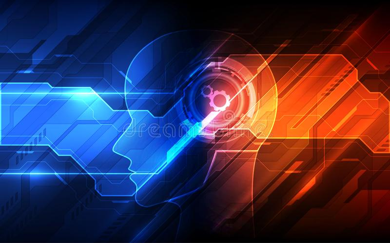 Inteligência artificial Tecnologia digital do AI no futuro Conceito virtual Fundo da ilustração do vetor ilustração do vetor