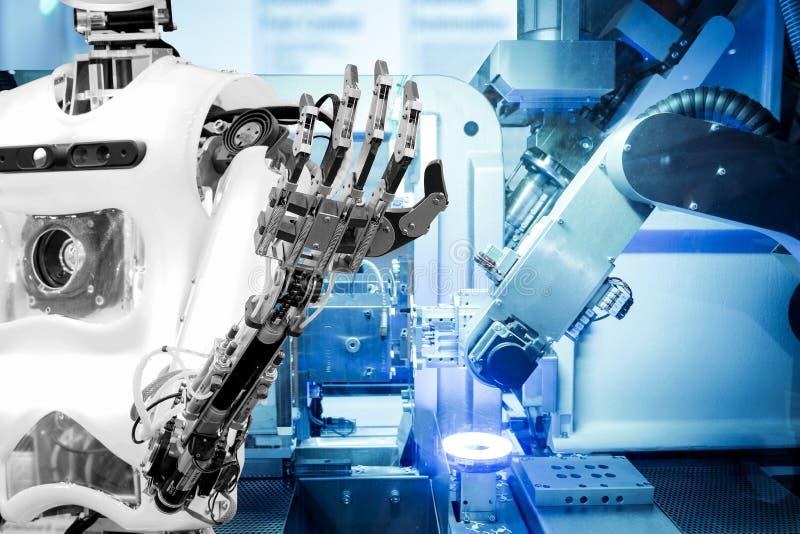Inteligência artificial trabalhar substituindo seres humanos em indústrias modernas, indústria 4 A palavra da cor vermelha situad foto de stock